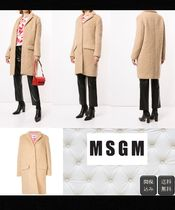 MSGM Casual Style Wool Plain Long Peacoats