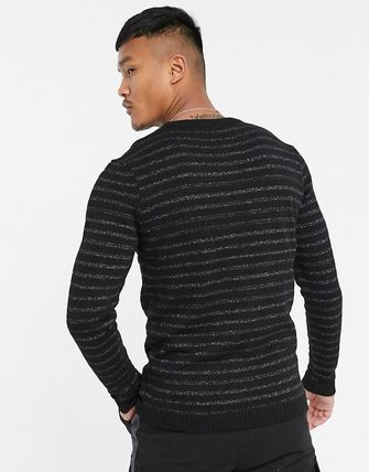 Crew Neck Pullovers Stripes Wool Long Sleeves Sweaters