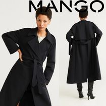 MANGO Casual Style Plain Long Trench Coats