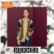 HERMES Stripes Casual Style Enamel Silk Cropped Medium