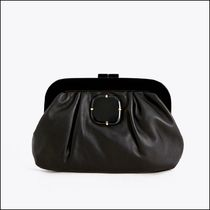 Uterque Black Leather Bag with Natural Stone