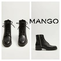 MANGO Round Toe Leather Mid Heel Boots