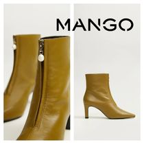 MANGO Rubber Sole Leather Mid Heel Boots