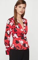 BCBG MAXAZRIA Flower Patterns Long Sleeves Shirts & Blouses