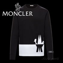 MONCLER Crew Neck Bi-color Long Sleeves Plain Cotton
