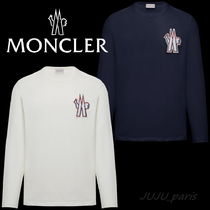 MONCLER Crew Neck Long Sleeves Plain Cotton Long Sleeve T-shirt Logo