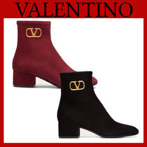 VALENTINO Plain Toe Casual Style Suede Plain Block Heels Office Style