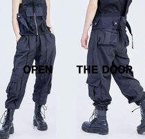 OPEN THE DOOR Unisex Plain Cotton Oversized Cargo Pants