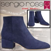 Sergio Rossi Round Toe Casual Style Suede Plain Leather Block Heels