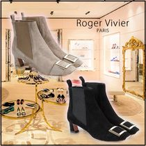 Roger Vivier Square Toe Plain Elegant Style Ankle & Booties Boots