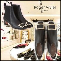 Roger Vivier Square Toe Plain Leather Elegant Style Ankle & Booties Boots