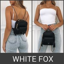 WHITE FOX Casual Style Chain Plain Backpacks
