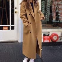 Casual Style Blended Fabrics Plain Long Khaki Chester Coats