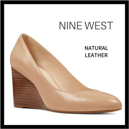 Nine West Casual Style Plain Leather Elegant Style Wedge Pumps & Mules