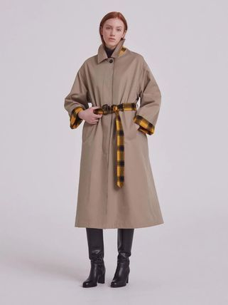 Other Plaid Patterns Plain Elegant Style Trench Coats