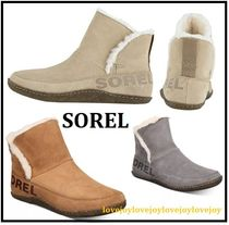 SOREL Round Toe Rubber Sole Casual Style Suede Faux Fur