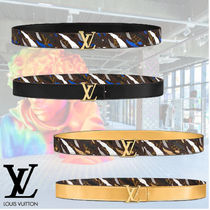 Louis Vuitton Camouflage Monogram Collaboration Plain Leather Belts