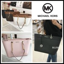 Michael Kors Monogram Casual Style Saffiano A4 Office Style Totes