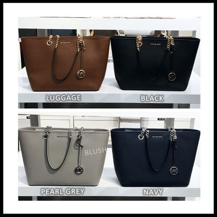 Monogram Casual Style Saffiano A4 Office Style Totes