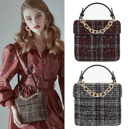 Other Plaid Patterns Casual Style Faux Fur Street Style 2WAY
