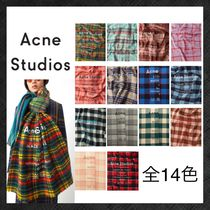 Acne Other Check Patterns Unisex Wool Knit & Fur Scarves