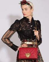 Dolce & Gabbana Heart Lambskin Plain Party Style With Jewels Elegant Style