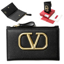 VALENTINO Unisex Plain Leather Logo Card Holders