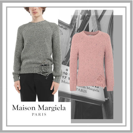 Maison Margiela Knits & Sweaters Wool Bi-color Long Sleeves Plain Knits & Sweaters