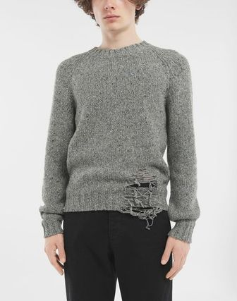 Maison Margiela Knits & Sweaters Wool Bi-color Long Sleeves Plain Knits & Sweaters 13