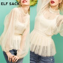 ELF SACK Dots Nylon Street Style Plain Medium Oversized Puff Sleeves