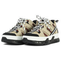 Burberry Round Toe Rubber Sole Casual Style Street Style Leather Logo