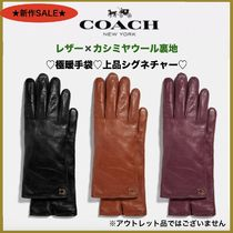 Coach Wool Plain Leather Logo Leather & Faux Leather Gloves