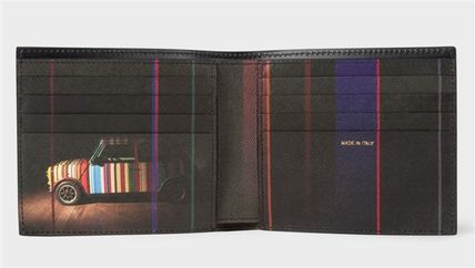Paul Smith Stripes Calfskin Street Style Leather Folding Wallet Logo
