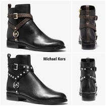 Michael Kors Cowboy Boots Rubber Sole Casual Style Studded Plain Leather