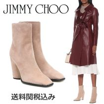 Jimmy Choo Square Toe Suede Blended Fabrics Plain Leather With Jewels