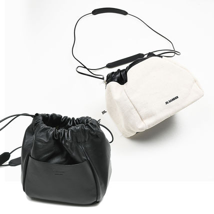 Plain Leather Logo Shoulder Bags