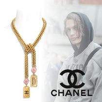 CHANEL Unisex Blended Fabrics Street Style Chain With Jewels Logo