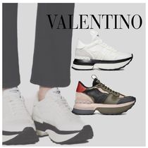 VALENTINO Rubber Sole Casual Style Plain Logo Military