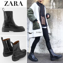 ZARA Street Style Leather Boots Boots