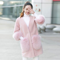 Faux Fur Street Style Plain Medium Long Cashmere & Fur Coats