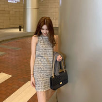 Short Tight Tweed Sleeveless U-Neck Office Style
