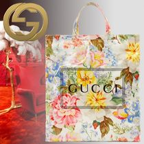 GUCCI Flower Patterns Casual Style Unisex Elegant Style Totes