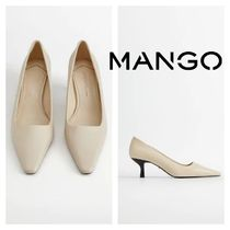 MANGO Rubber Sole Casual Style Leather Pin Heels Party Style