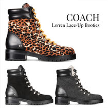 Coach Plain Toe Rubber Sole Casual Style Tweed Blended Fabrics