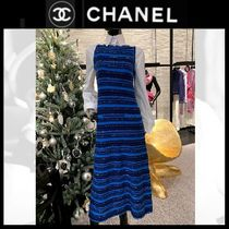 CHANEL Crew Neck Stripes Tight Cashmere Sleeveless Long Party Style