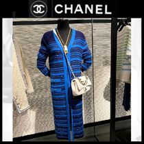 CHANEL Stripes Cashmere Long Sleeves Long Party Style