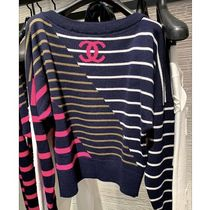 CHANEL Stripes Casual Style Cashmere Boat Neck Plain Medium
