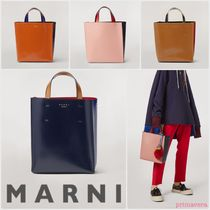 MARNI Casual Style Bi-color Plain Leather Office Style Totes