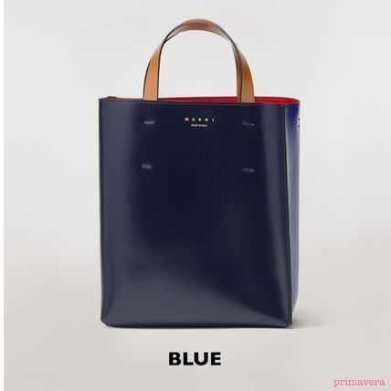 Casual Style Bi-color Plain Leather Office Style Totes