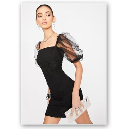 Short Casual Style Tight Plain Party Style Elegant Style